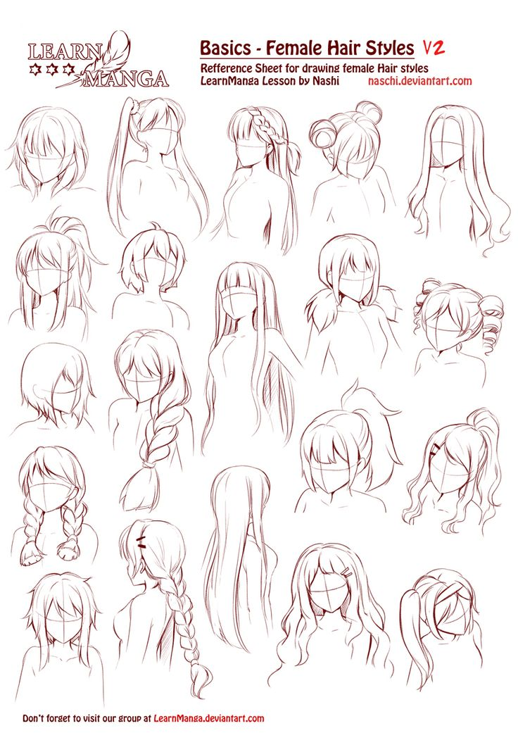 Learn Manga Basics Female Hair styles V2 by Naschi on @DeviantArt