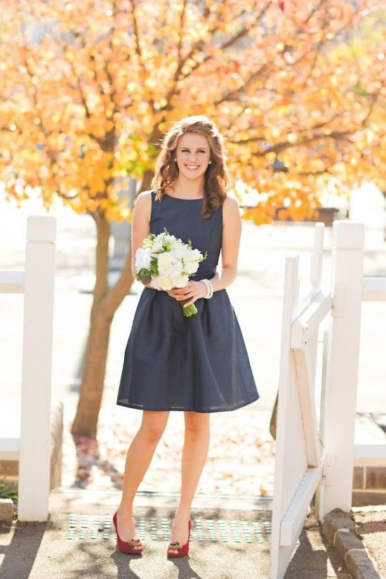 Gorgeous navy blue bridesmaid dress with raspberry red shoes! LOVE! Image by Vibrant Photography