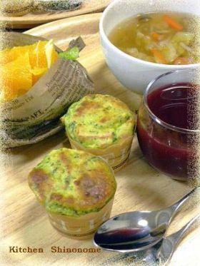「小松菜とハムのケークサレ」東雲えーあんどえむ | お菓子・パンのレシピや作り方【corecle*コレクル】