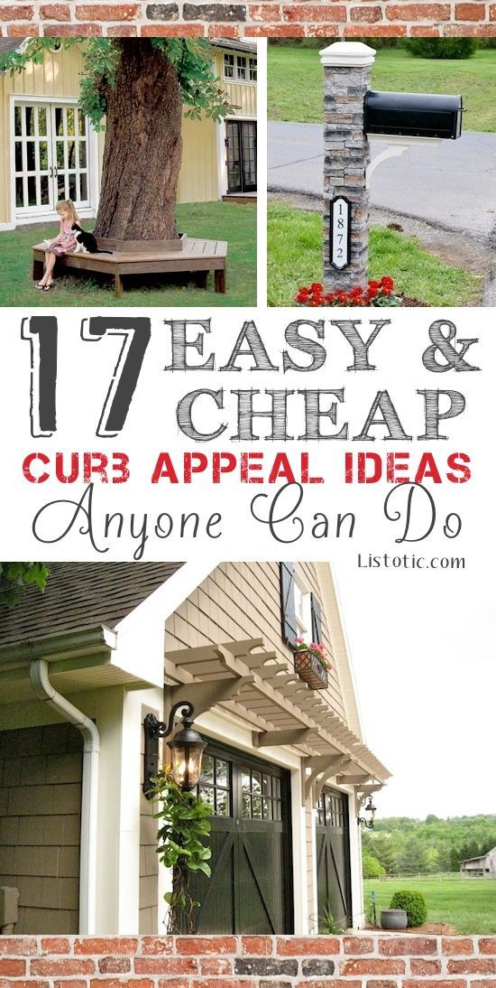 17 Easy and Cheap Curb Appeal Ideas Anyone Can Do...love the garage door & pergola in this pic