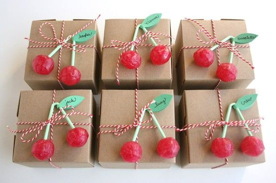 """Gift Wrap IDEA - Plain paper ( any colour , your choice ) .. tie up with pretty string or ribbon then topped off with Suckers or any kind of Candy for a """" Sweet """" Give away."""