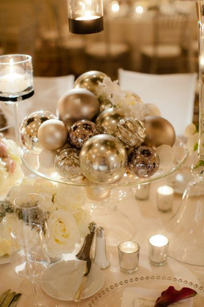 Ornaments in a shallow bowl at Christmas