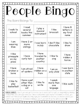 People Bingo is not only a fun activity but also a great way to get students up and moving during the first week of school to get to know one another! I use this game to help build my classroom community. Enjoy!  Katie