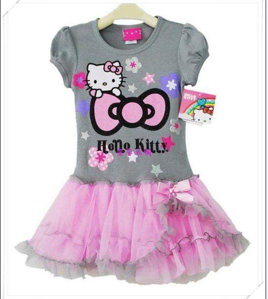 Девочки-младенцы HELLO KITTY платья лето детский печать kt cat пачка платье 5 шт. / lot дети в кружево платья танец пачка