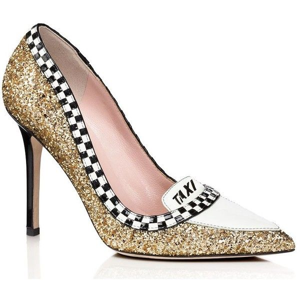 Kate Spade Lexie Heels (£270) ❤ liked on Polyvore featuring shoes, pumps, heels, glitter shoes, black and white checkered shoes, patent pumps, glitter pumps and checkered shoes