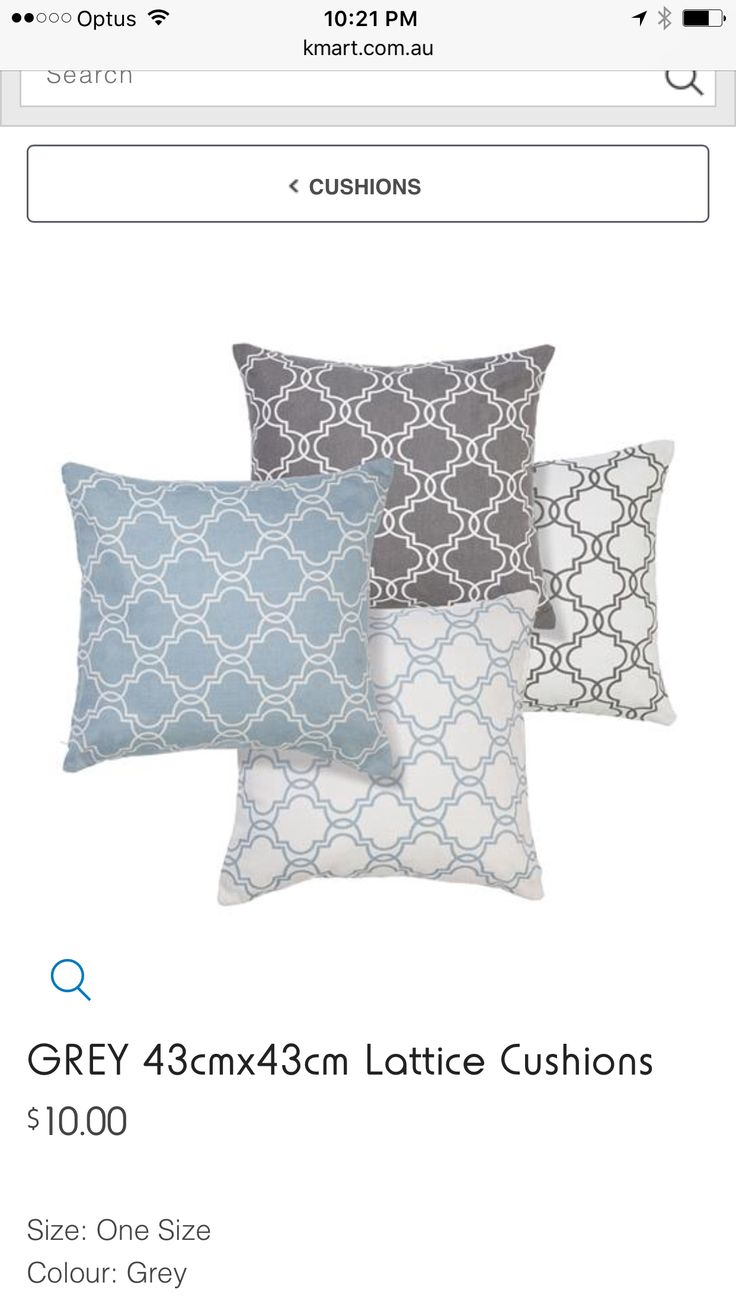 Grey white blue Decor cushions Kmart AU