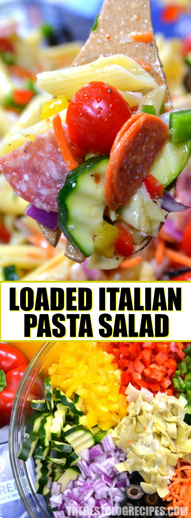 This Loaded Italian Pasta Salad from The Best Blog Recipes is a classic pasta salad that so incredibly easy to make. Loaded with fresh vegetables, cheese, pepperoni, salami, and Barilla Gluten Free Penne Pasta — this is a dish that is perfect for your next potluck, picnic, or anytime you need a hearty salad for a crowd! #ad #PastaPerfection