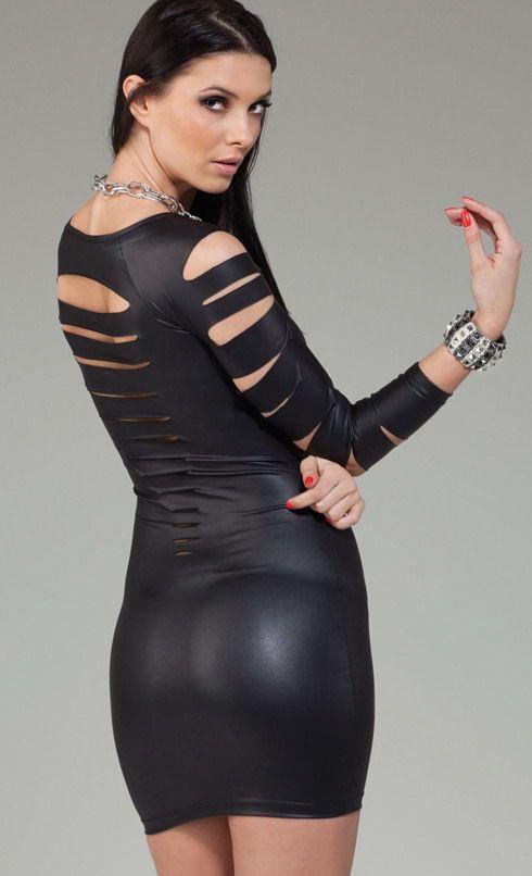 Matte Black Cut Out Long Sleeved Dress
