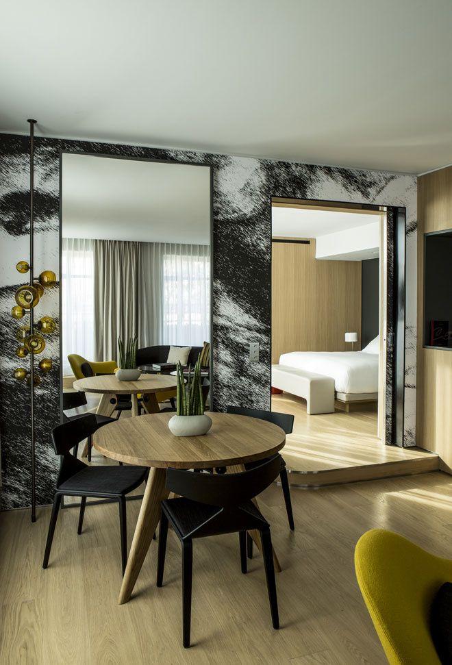 Beautiful modern, simple hotel room.