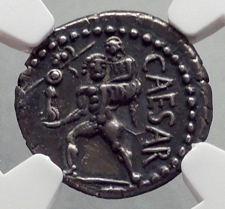 Julius caesar ancient silver roman coin venus troy rome