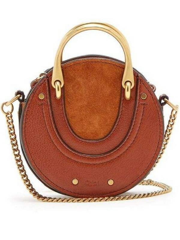 668d44d793 My dream purse. Love this Chloe round and retro style purse. Beautiful  leather and suede with gold handles. cross body bags