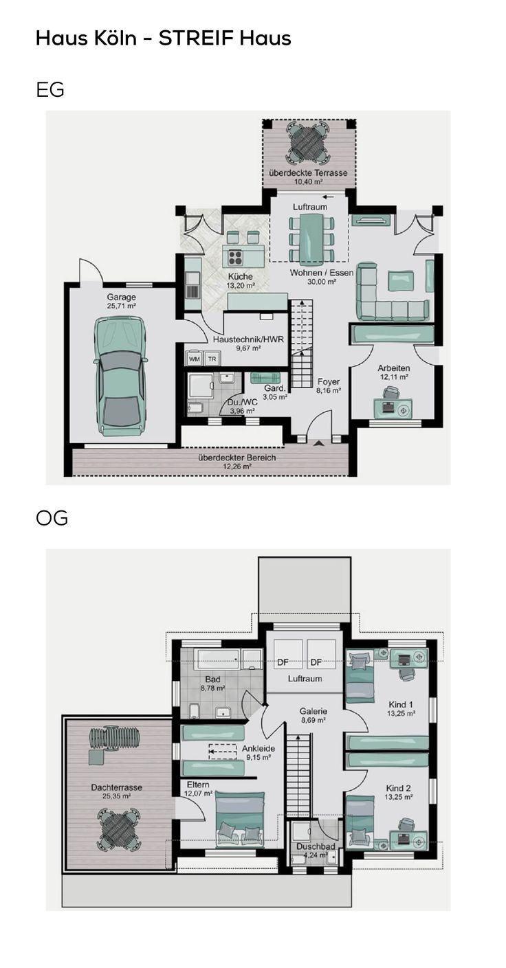 Grundriss Einfamilienhaus mit Garage, Galerie & Satteldach Architektur – 5 Zimme… – mei l
