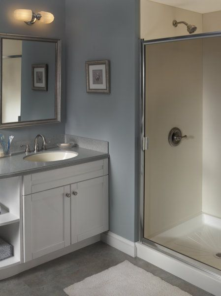 Full View Of Bathroom And Vanity With Corian Blue Pebble Corian Bathrooms