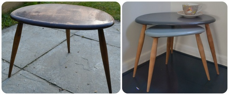 The surviving two of a nest of Ercol Pebble tables, rescued from the dump(!), stripped and sprayed.