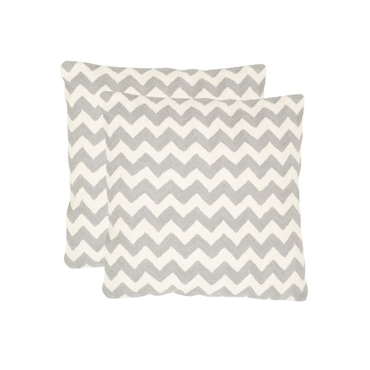 Chevron Tealea 2-piece 22'' x 22'' Throw Pillow Set, Light Grey