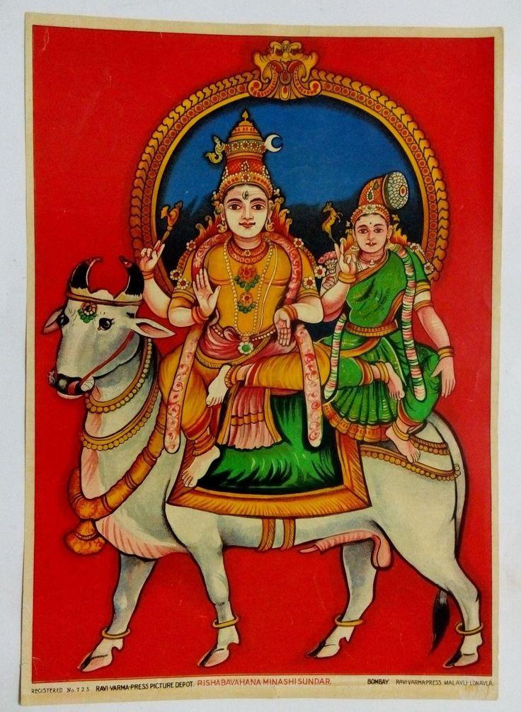 India Antique Ravi Varma Lithograph / Shiva & Parvati on Bull Rishabavahana #325 picclick.com