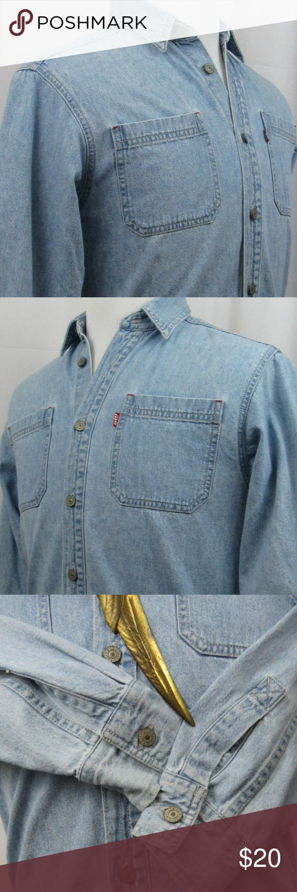 "Levi's button front denim long sleeve shirt Vintage, classic light blue Levi's denim shirt with metal buttons. I consider it to be in good preowned condition. I don't detect any flaws. However, please review the photos to make a determination of the color and condition. My best measurements are:  Shoulder to shoulder: 17 1/2"" Pit to pit: 19"" Length: 25"" Sleeves: 26 1/2""  INV-H99-170439 Levi's Tops Button Down Shirts"