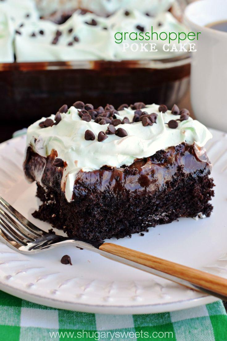 Grasshopper Poke Cake - Shugary Sweets