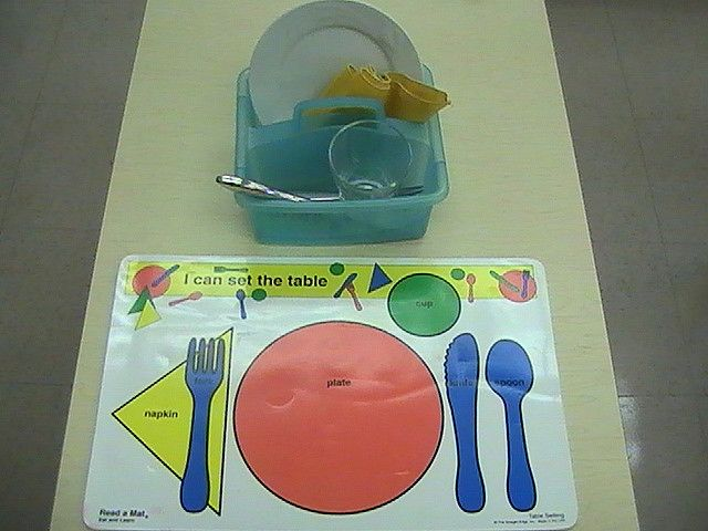 Practical Life Skills - Setting the Table. First, do it as a tray activity, then do it as a real contribution to the family.