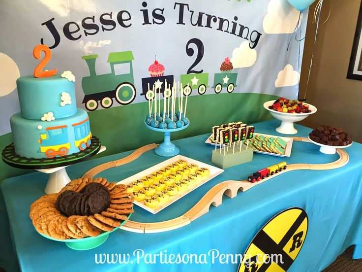 Train Themed 2nd Birthday Party Dessert Table Spread Www
