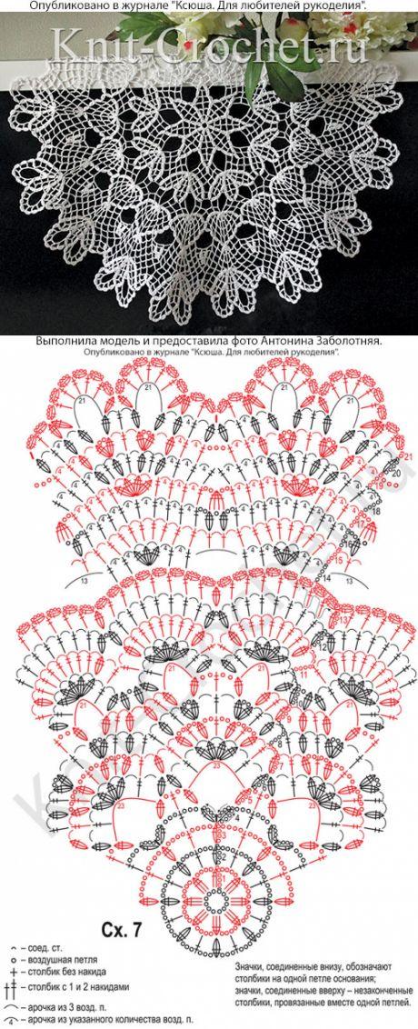 Салфетка крючком. - Аксессуары, вязанные крючком - Вязание крючком - Каталог статей - Вязание спицами и крючком
