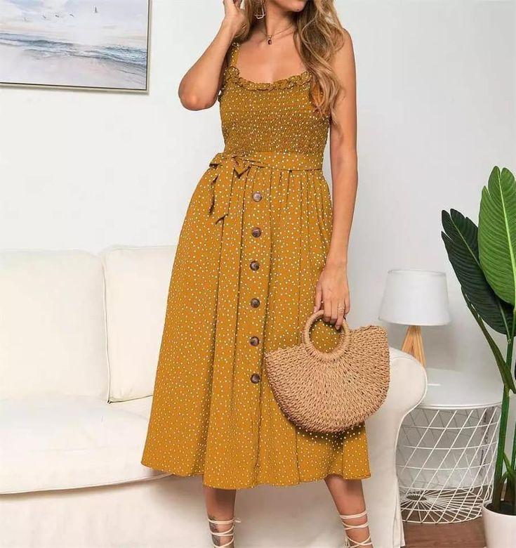 Mustard dress | Kleider für frauen, Kleider damen, Gelbe ...