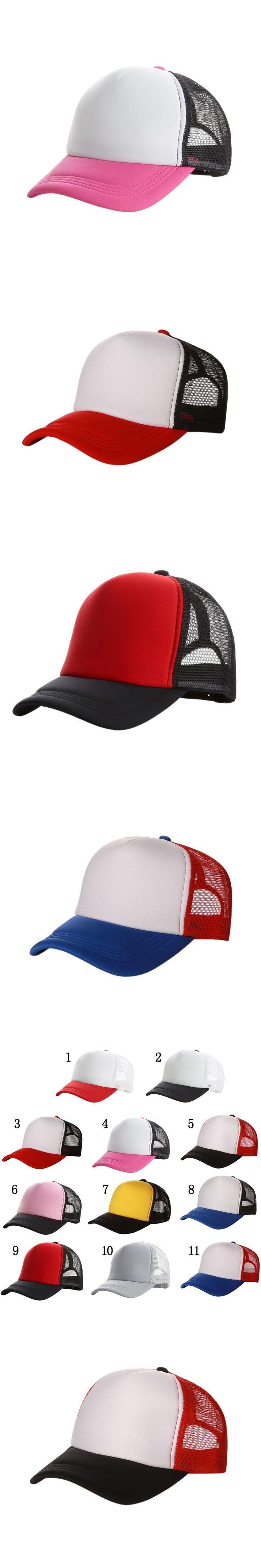 2017 Good-looking New Plain Baseball Cap Solid Trucker Mesh Blank Curved Adjustable Baseball Hat