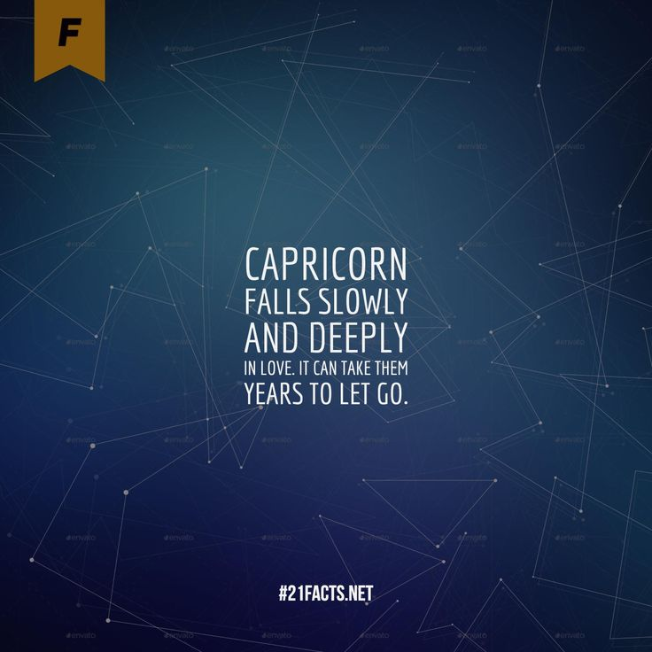Capricorn falls slowly and deeply in love. It can take them years to let go.  Interesting #facts about #capricorn #woman and #man - #personality and #love