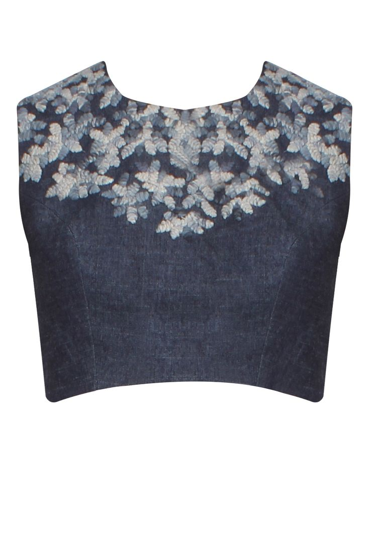 Dark blue ombre floral branch cord embroidered blouse available only at Pernia's Pop Up Shop.