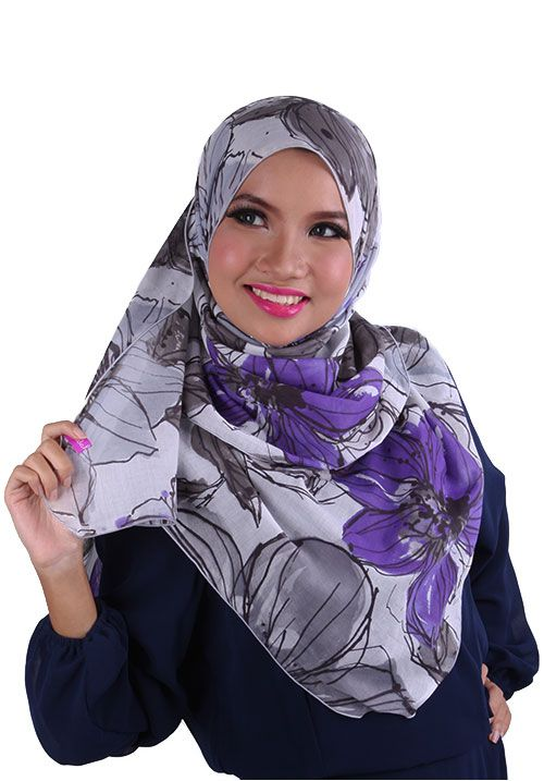 Indahijjabe - Shawl in Grey and Purple BY Hijab2go | Shoppertise Online Shopping - Malaysia