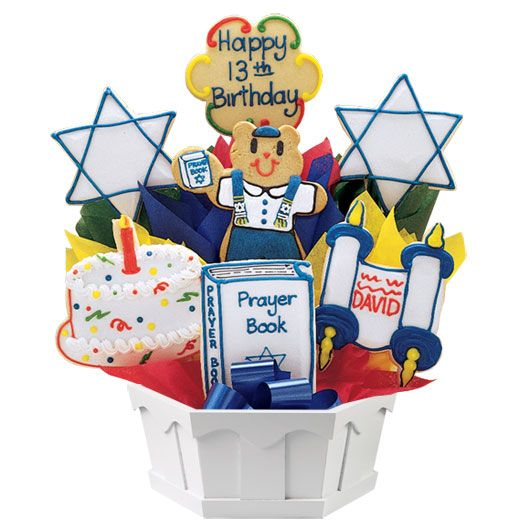 A special cookie bouquet for a Bar/Bat Mitzvah. Can be customized. Cookies by Design