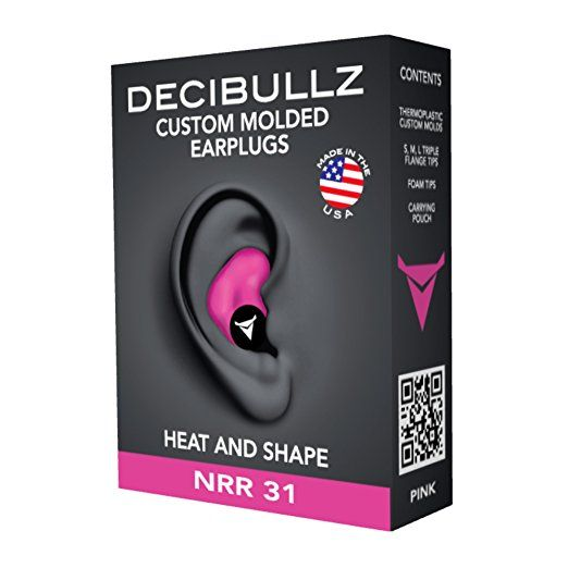 Decibullz Custom Molded Earplugs 31dB Highest NRR. Comfortable Hearing Protection for Shooting, Travel, Sleeping, Swimming, Work and Concerts (Pink)