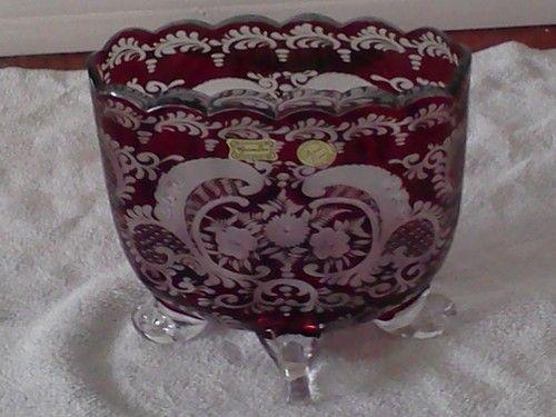 Egermann Bohemia Crystal Ruby Vase Czech Republic Hand
