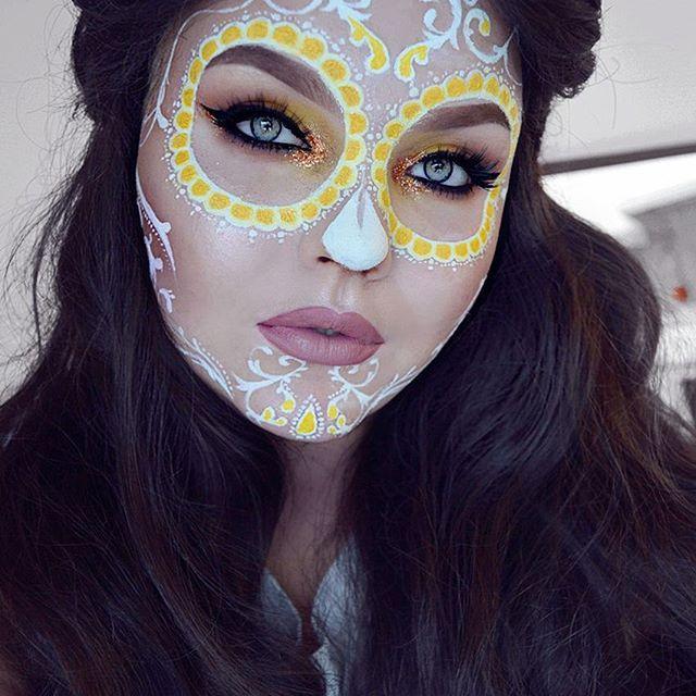 sugar skull makeup by instagramer bangtsikitsiki more - Skull Face Painting Ideas For Halloween