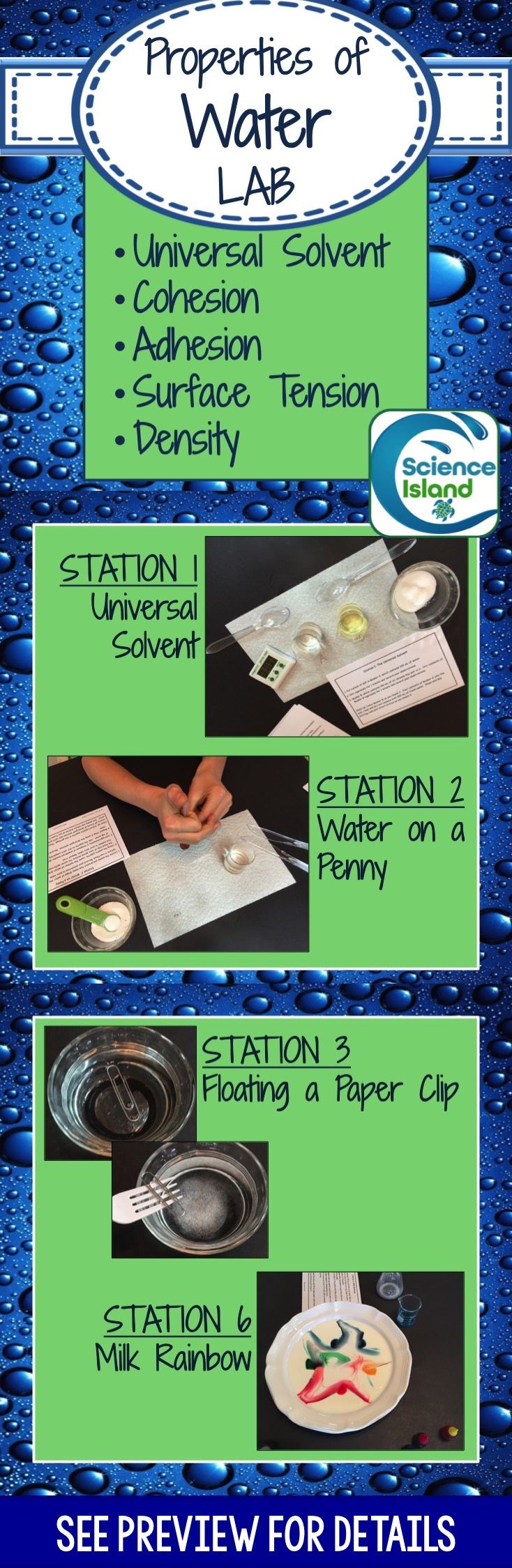 Students will rotate through seven different stations during this lab to discover the unique properties of water including surface tension, cohesion and adhesion, polarity, density, capillary action and water's role as the universal solvent. Also provides students with opportunities to practice laboratory procedures and become more familiar with common lab equipment.