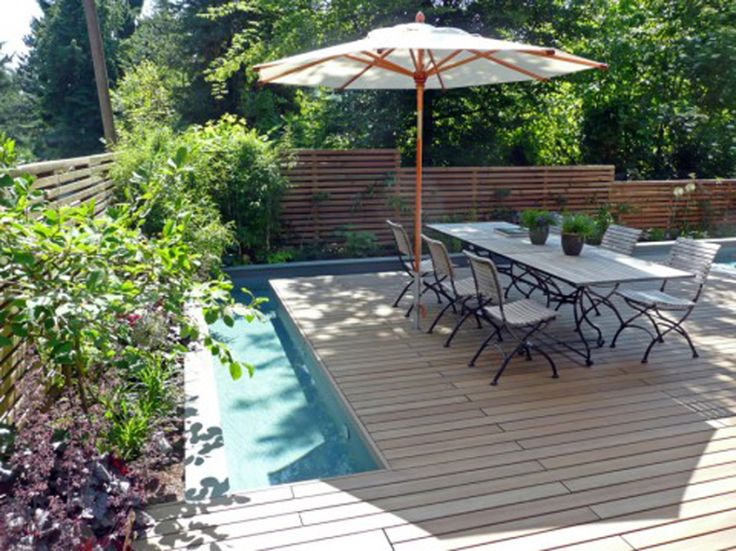 Exterior astonishing backyard ideas with pool feat wood for Backyard makeover with pool