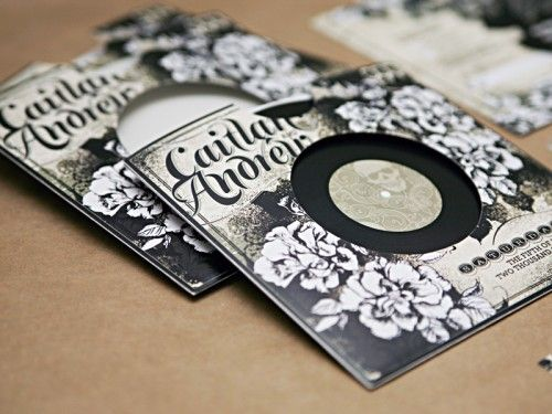 Record wedding invitation