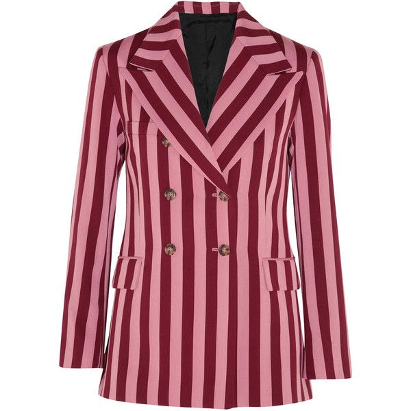 ALEXACHUNG Striped crepe blazer ($835) ❤ liked on Polyvore featuring outerwear, jackets, blazers, pink, red striped blazer, red double breasted blazer, blazer jacket, stripe jacket and striped jacket