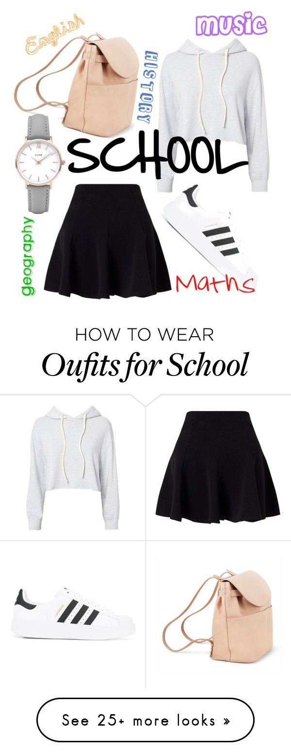 """School life"" by stephanieadeline on Polyvore featuring Miss Selfridge, Monrow, adidas Originals and CLUSE"