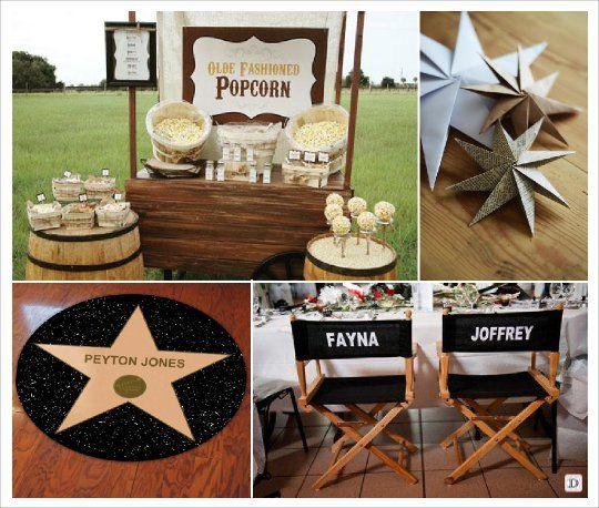 decoration salle mariage cinema candy bar pop corn siege metteur en scène étoile hollywood