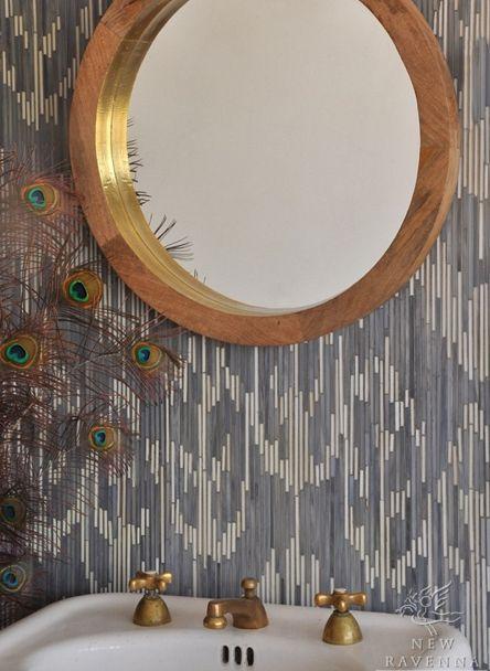 mosaic tile, slate blue, goldPowder Room, Glasses Tile, Pearls Jewels, Jewels Glasses, Glasses Mosaics, Ikat Collection, Ravenna Mosaics, Mosaics Tile, Peacocks Feathers
