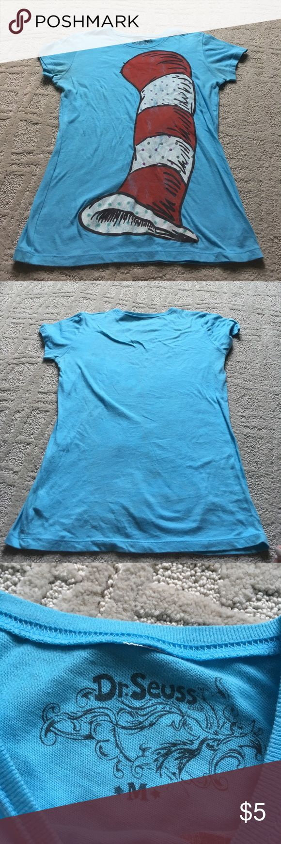 """Dr Seuss hat tshirt Good condition except for some discoloring and normal wear. 18"""" across chest, 25"""" long. 100% cotton. Dr. seuss Tops Tees - Short Sleeve"""