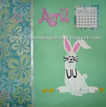 Handprint and Footprint Arts & Crafts:: Idea, Footprint Bunnies, Footprint Art, Art Crafts, Handprint Footprint Crafts, Bunnies Footprint, Footprint Calendar, April Handprint, Handprint Calendar