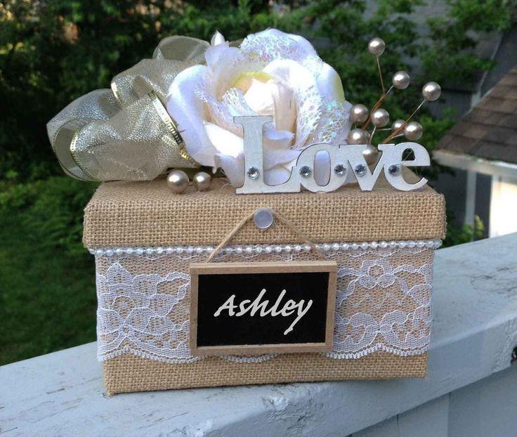 Burlap Lace Wedding Gift Box Beige Ivory Bridesmaids Love Keepsake  #allthebestcardboxes