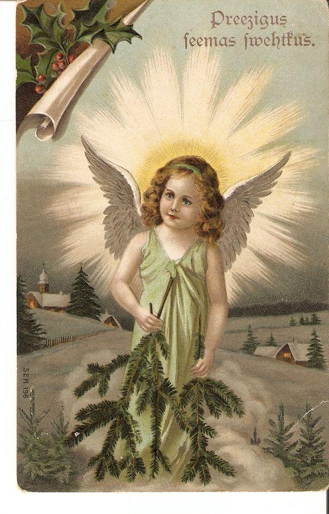 carte postale joyeux Noël Enfant Fille Ange Angel imprimé en Allemagne Ser. 196
