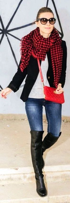 Black And Red Tartan Scarf