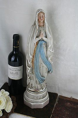 Antique french porcelain lourdes madonna statue figurine