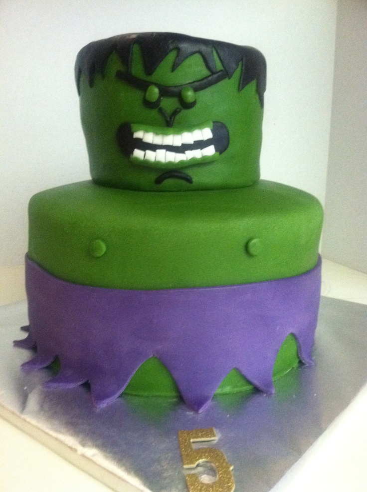 The Hulk cake  Green and chocolate marble cake with cookie dough filling!