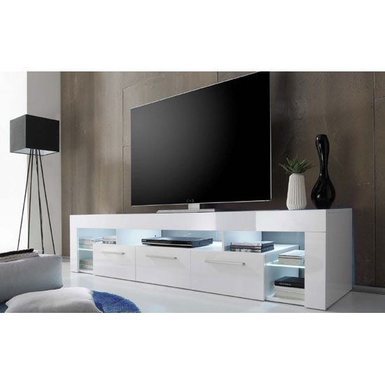 Sorrento Large TV Stand In White High Gloss With White LED Light