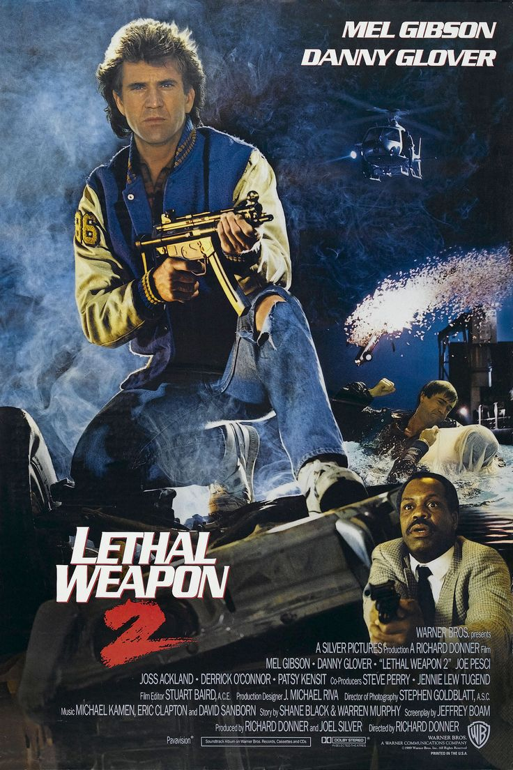 """Lethal Weapon 2"" alternate movie poster, 1989.  ""Lethal Weapon 2"" was released on July 7, 1989 and quickly separated from the pack, earning $147 million.  In a year full of summer blockbusters - ""Batman"", ""Indiana Jones and the Last Crusade"", ""Ghostbusters 2"", ""The Little Mermaid"", and ""Look Who's Talking"" - ""Weapon 2"" finished third for the year."